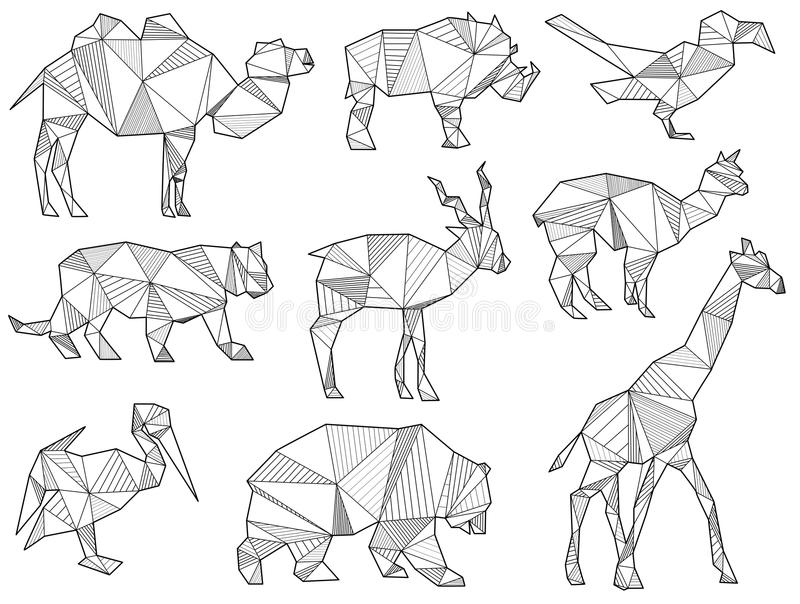 Vector set of origami wild animal silhouettes. (camel, wild boar, Parrot, Tiger, alpaca, Lama, giraffe, bear and cormorant royalty free illustration