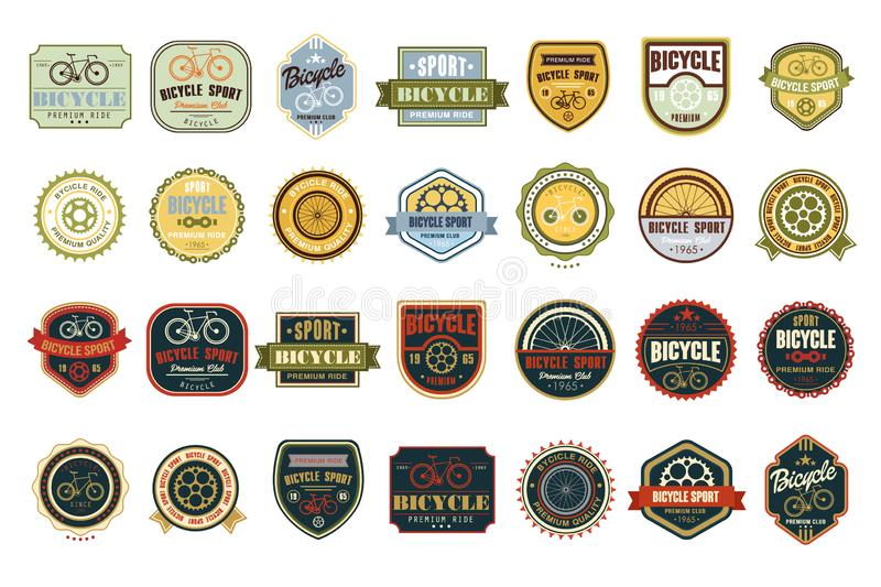 Vector set of original bicycle themed emblems. Extreme sport. Stylish labels. Creative typographic design for biking royalty free illustration