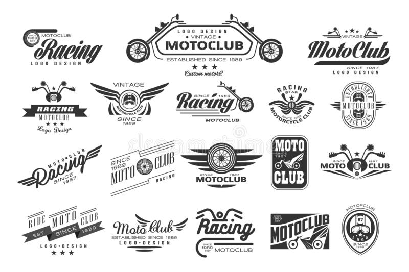 Vector set of original bikers emblems. Vintage logo design. Monochrome labels for motor club. Typography elements for. Collection of original bikers emblems stock illustration