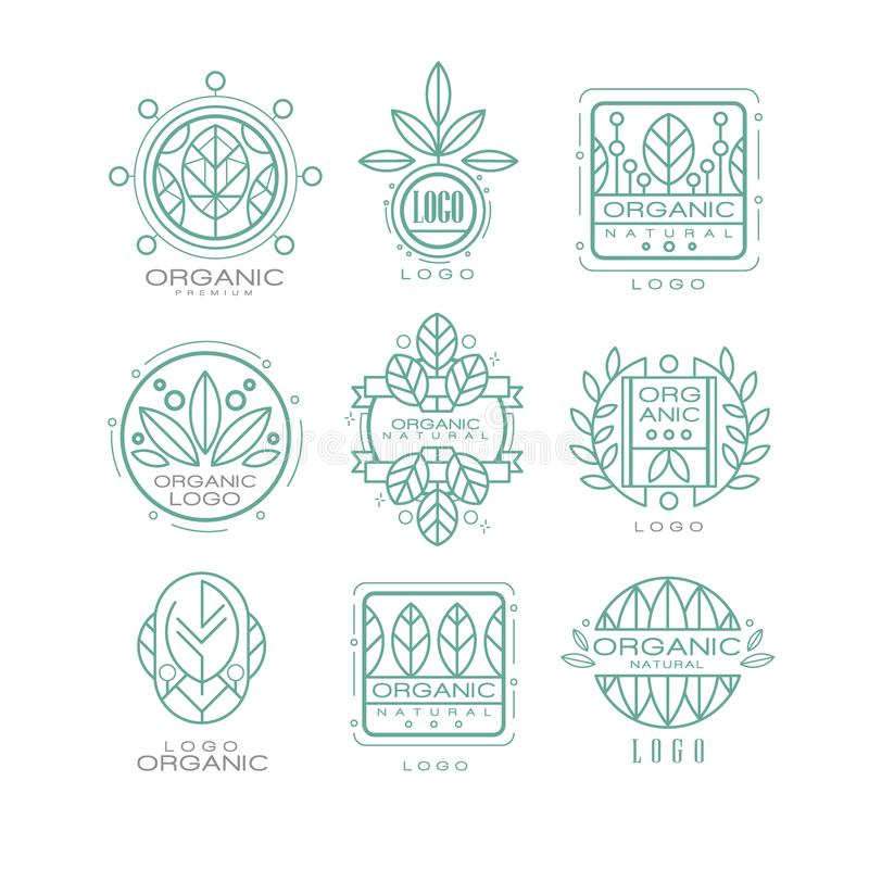 Vector set of original organic logos. Linear emblems with abstract leaves for natural cosmetics, eco food products or vector illustration