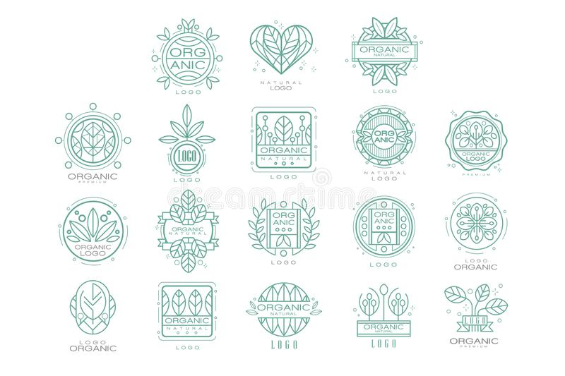 Vector set of original organic logos. Linear emblems with abstract leaves for natural cosmetics, eco food products or. Set of 9 original organic logo templates vector illustration