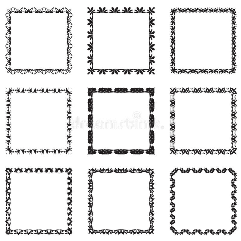 Vector Set Of Ornate Black Picture Frames Isolated On White Stock ...