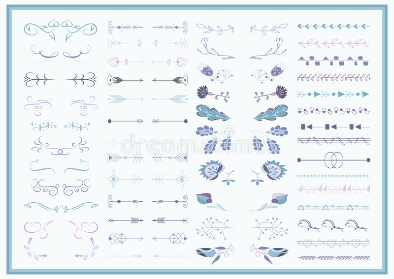 Vector set of ornate frames and scroll elements stock illustration