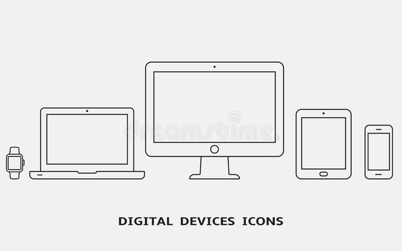 Vector set of outline device icons. Monitor, laptop, tablet pc, smartphone and smart watch stock images