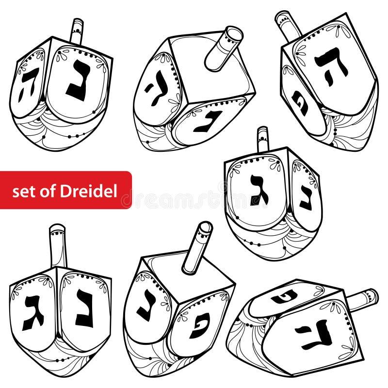 Vector set with outline Hanukkah or Hanuka dreidel or sevivon with Hebrew alphabet in black isolated on white background. Ornate contour Chanukah dreidel for vector illustration