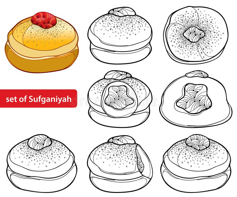 Vector set with outline traditional Hanukkah sufganiyah or sufganiyot or doughnut in black isolated on white background. Contour whole and half jelly donut for stock illustration
