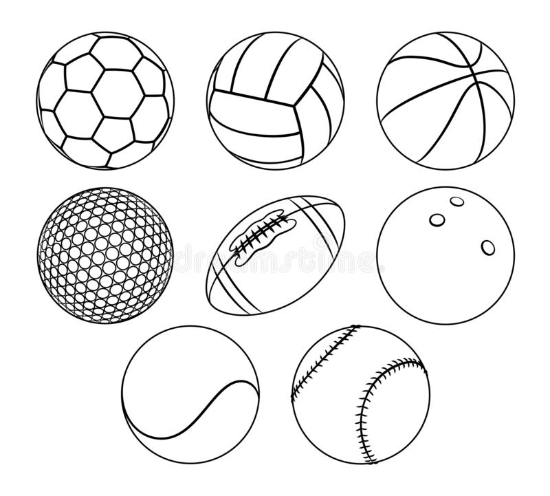 Vector set of outlines different sport balls. royalty free illustration