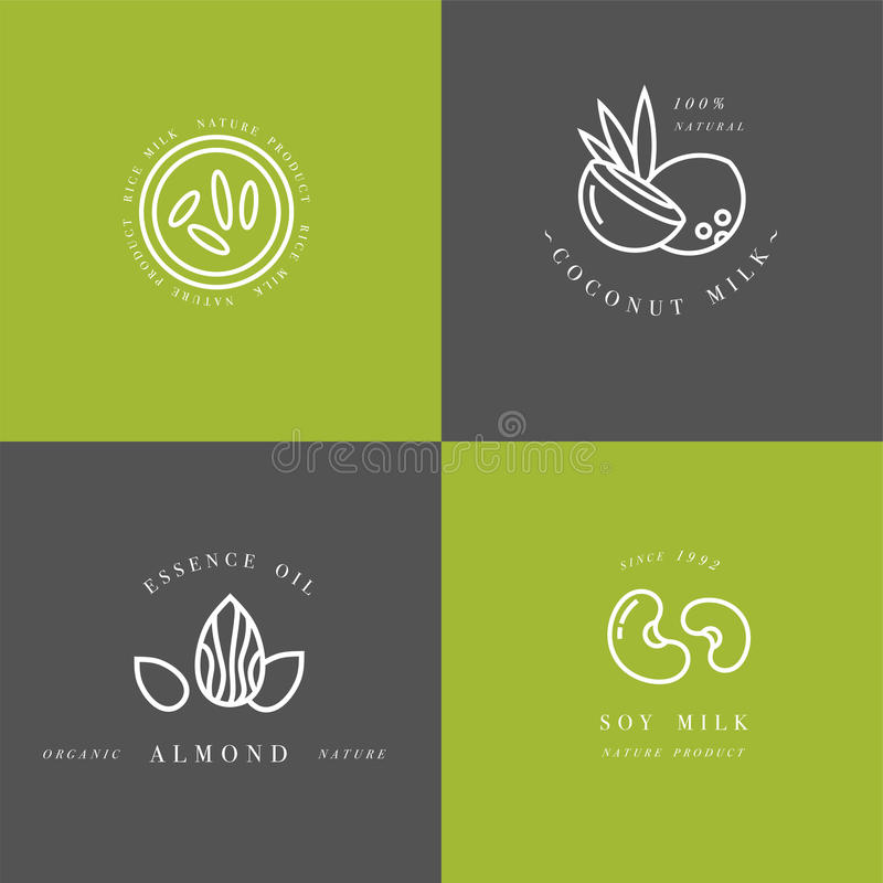 Vector set of packaging design elements and icons in linear style - almond, coconut, rice and soy milk. Healthy vegan drinks. Logo sign royalty free illustration