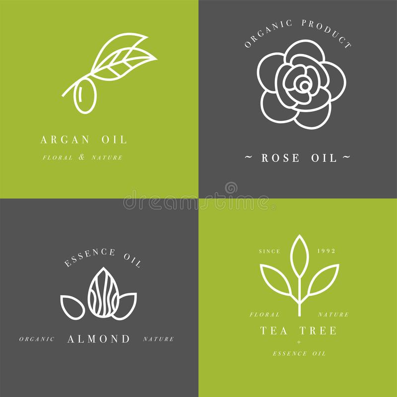 Vector set of packaging design templates and emblems in linear style - beauty and cosmetics oils - argan, rose, almond. Vector set of packaging design templates vector illustration