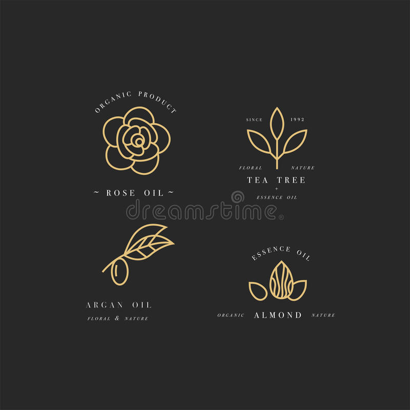 Vector set of packaging design templates and emblems in linear style - beauty and cosmetics oils - argan, rose, almond. Vector set of golden packaging design royalty free illustration