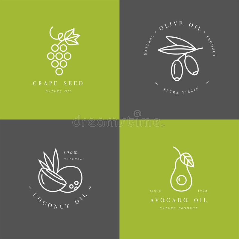 Vector set of packaging design templates and emblems in linear style - beauty and cosmetics oils vector illustration