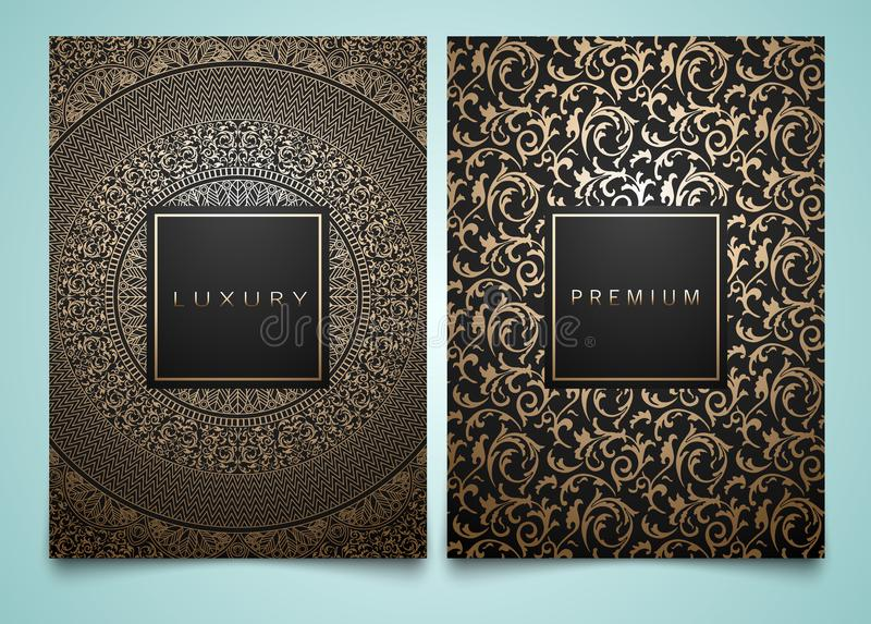 Vector set packaging templates with different golden floral damask texture for luxury product. Trendy design for logo. stock illustration
