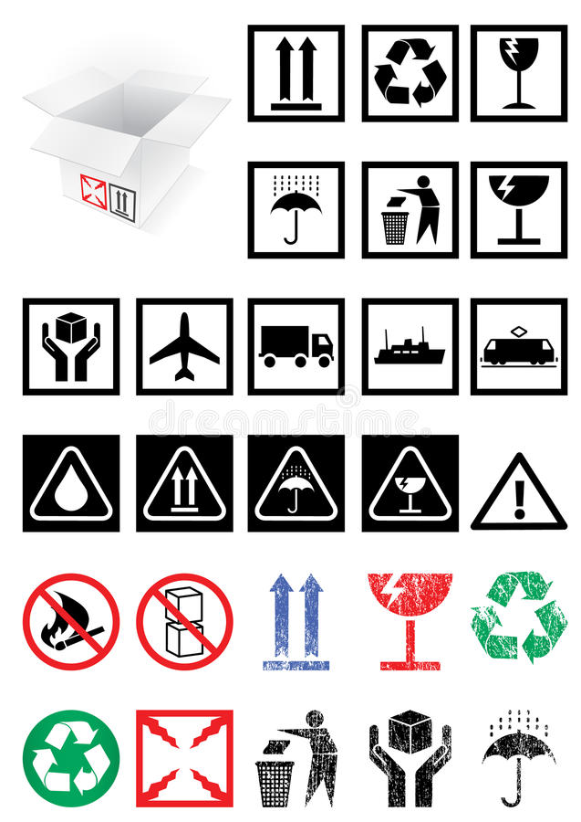 Download Vector Set Of Packing Symbols And Labels. Stock Vector - Image: 14917598