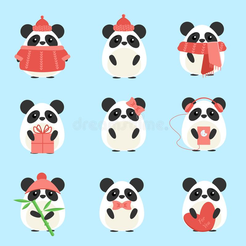 Vector set pandas in warm clothes with different subjects. Bamboo, hat, scarf, gift, heart, bow. Cartoon cute illustration stock illustration