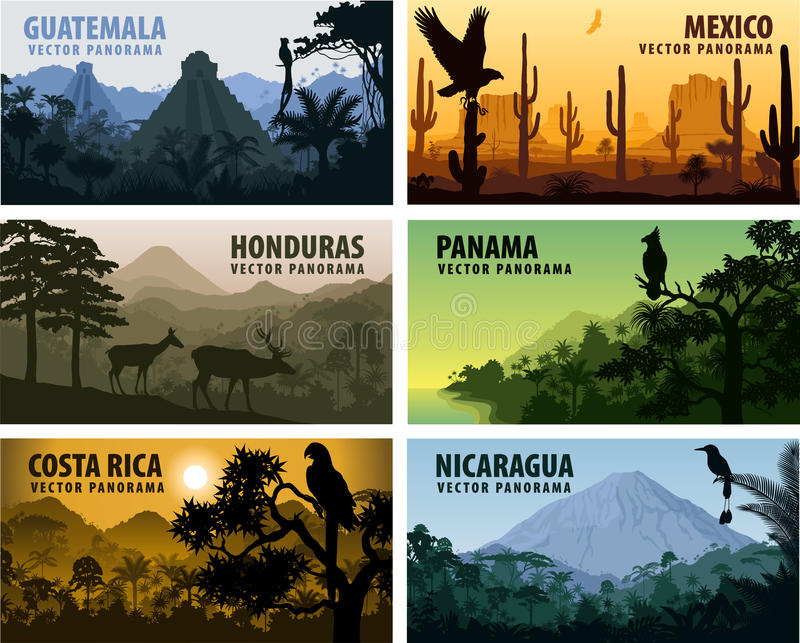 Vector set of panorams countries Central America - Guatemala, Mexico, Honduras, Nicaragua, Panama, Costa Rica. Illustration vector illustration