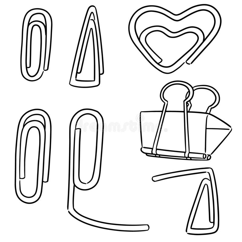 Vector set of paper clip. Hand drawn cartoon, doodle illustration stock illustration