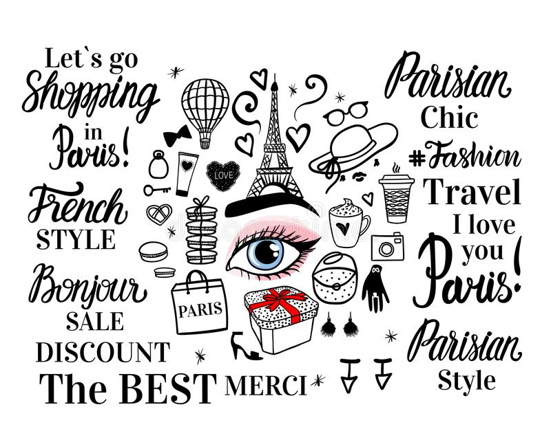 Vector set Paris Fashion Shopping. Round concept. Lettering inscription, sketch illustration, Eiffel tower, Womens accessories. vector illustration