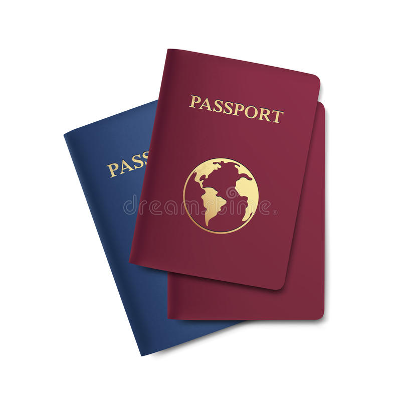 Vector Set of Passports with Map Isolated on White. Background royalty free illustration