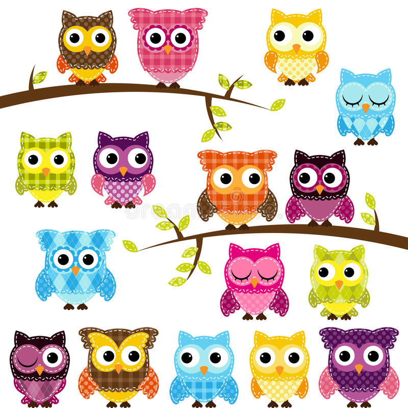 Vector Set of Patchwork Or Quilt Style Owls. And Branches vector illustration