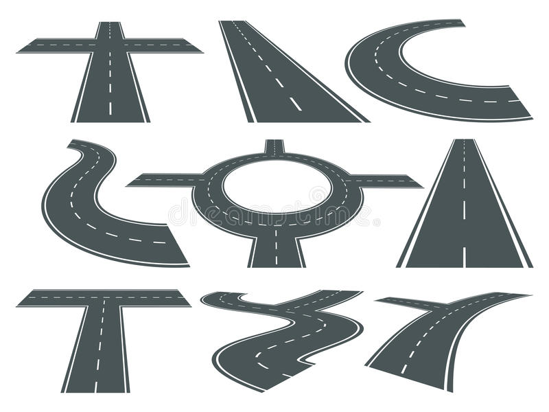 Vector Set Of Pathway Different Roads Speed Curved Symbol For Logo