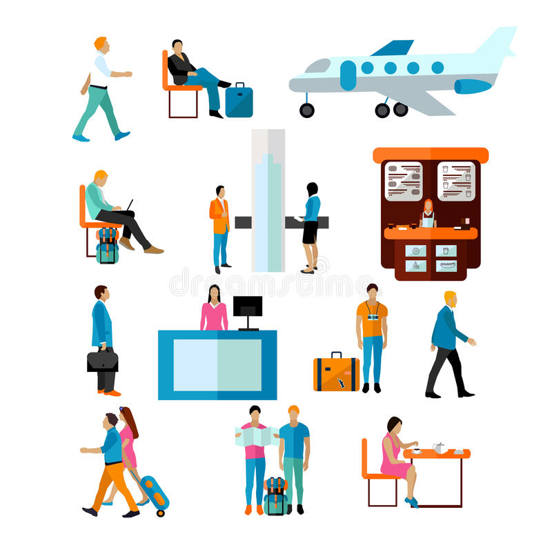Vector set of people in airport isolated on white background. Icons and design elements vector illustration