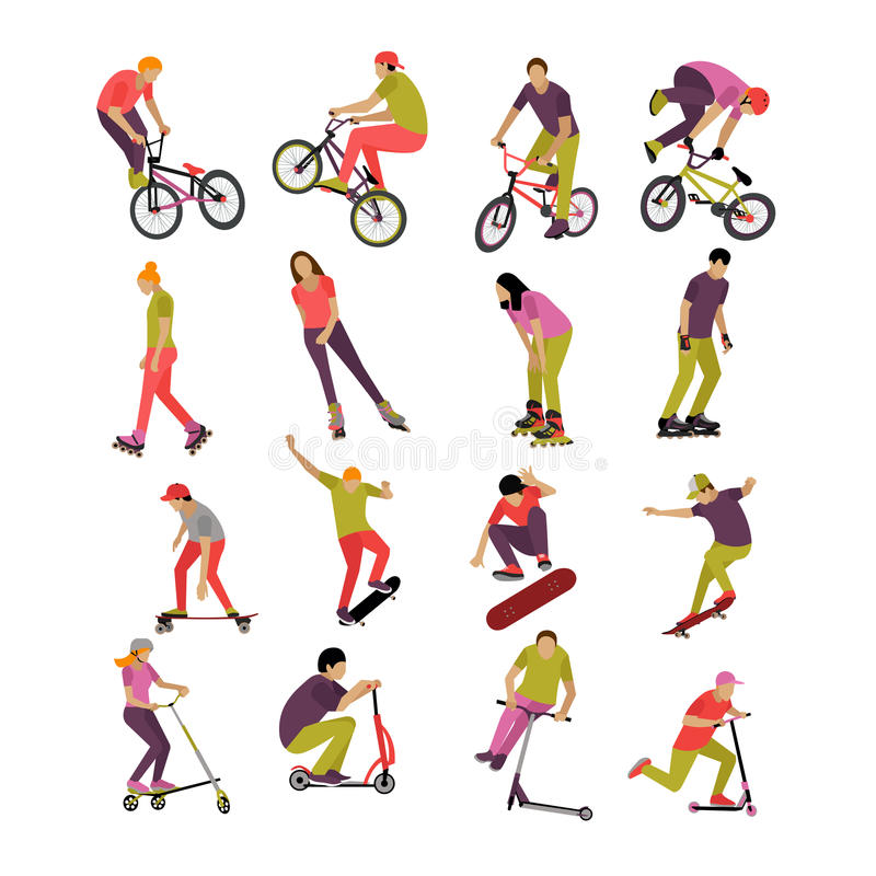 Vector set of people on bicycle, skateboard, rollers and scooter. Sport design icons. Teenager makes tricks, stunts. vector illustration