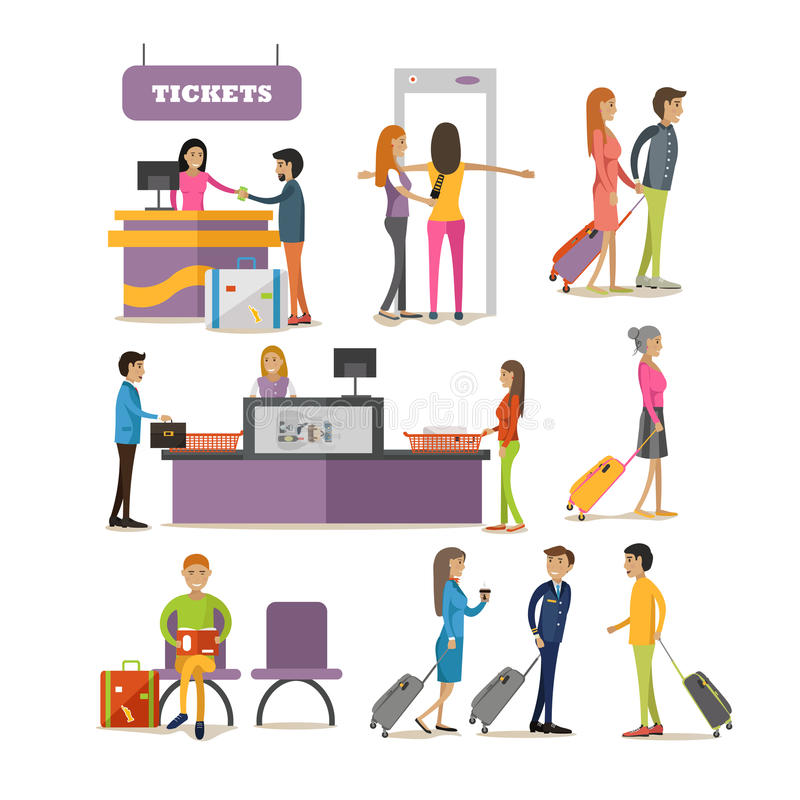 Vector set of people characters in airport terminal. Airline passengers passing security control, buying tickets and stock illustration