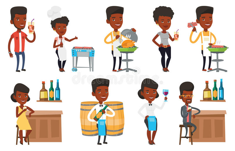 Download Vector Set Of People Eating And Drinking. Stock Vector - Image: 83713833