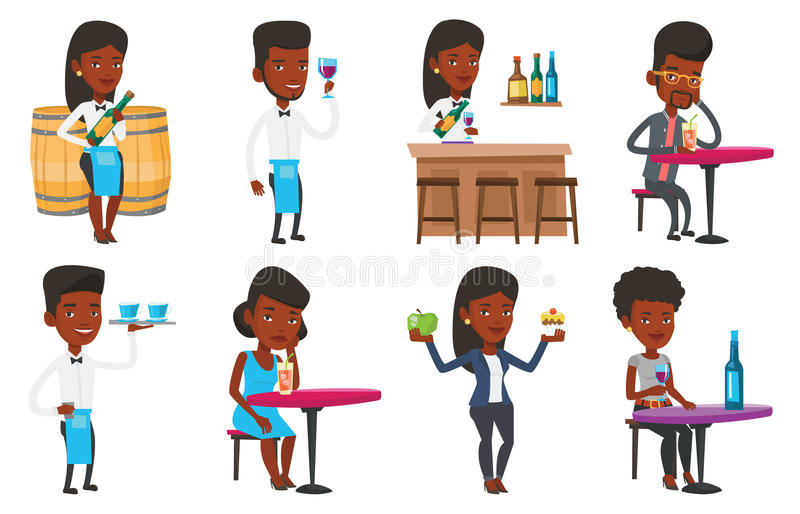 Download Vector Set Of People Eating And Drinking. Stock Vector - Image: 83713366