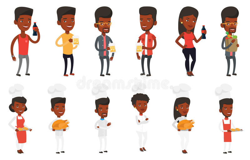 Download Vector Set Of People Eating And Drinking. Stock Vector - Image: 83714530