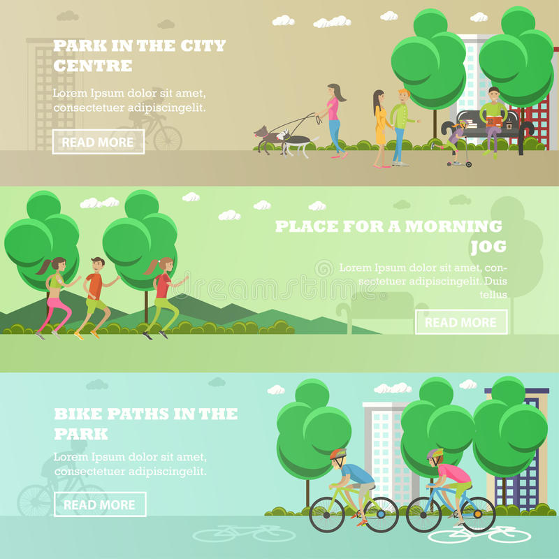 Vector set of People in park concept banners. Running, walking out dogs, cycling. stock illustration