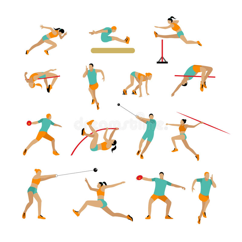 Vector set of people in sport poses. Track and field athletic contest concept. Sportsman flat icons on white vector illustration