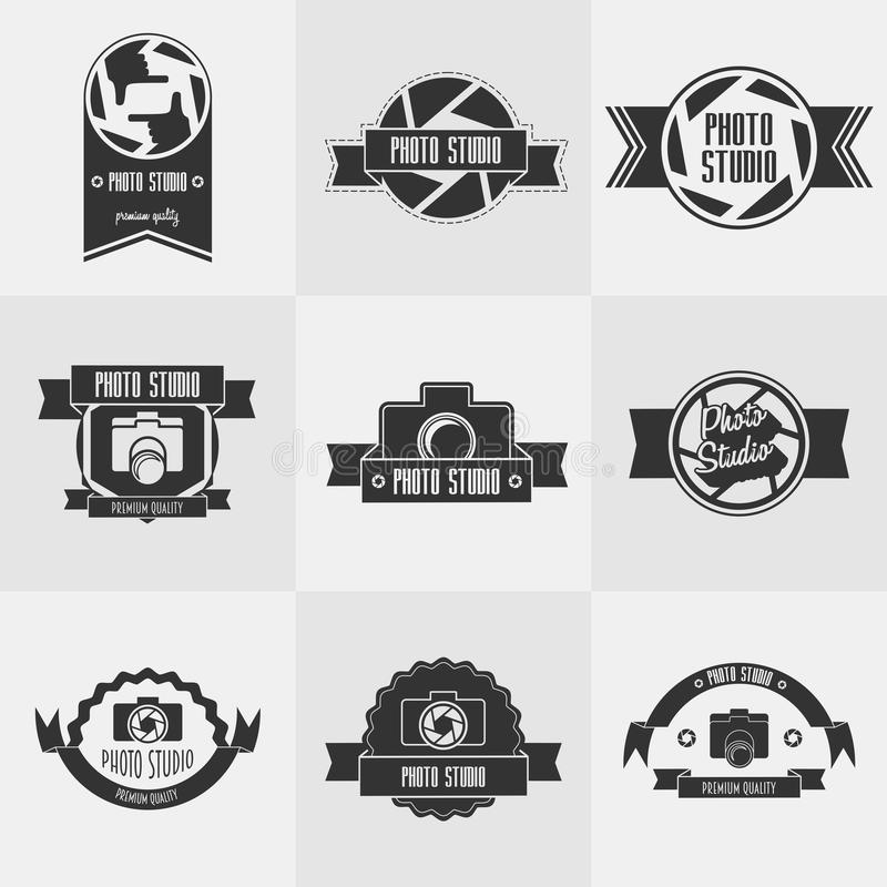 Vector set of photo studioy logo templates. Photography vintage badges and icons. Photo labels royalty free illustration