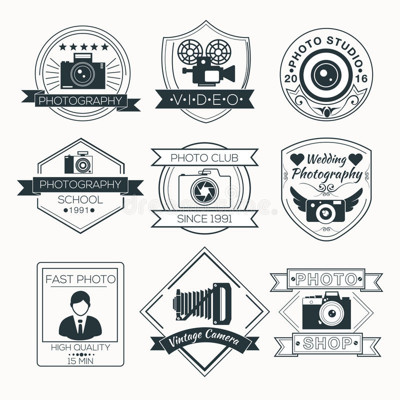 Vector Set of Photography Badges stock illustration