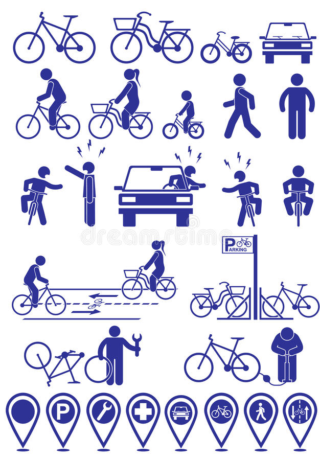 Vector set pictograms bicycle infrastructure icons. Vector bike accessories set.Various cycling poses in silhouettes royalty free illustration