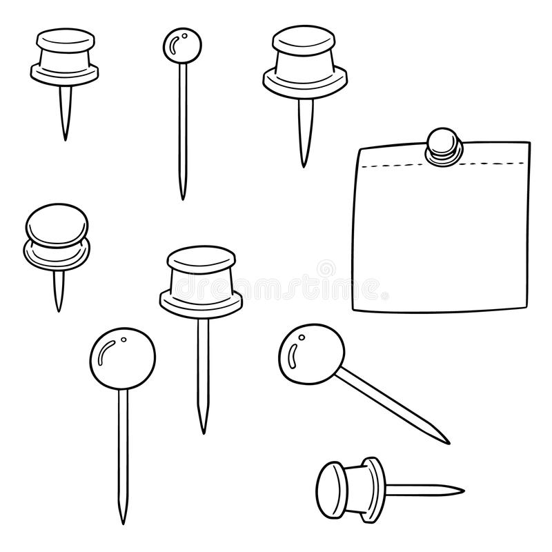 Vector set of pin and memonote. Hand drawn cartoon, doodle illustration royalty free illustration