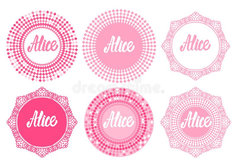 Vector Set round frame with letering Alice. Princess girly style design isolated on white background. Vector Set pink round frame with letering Alice. Princess royalty free illustration