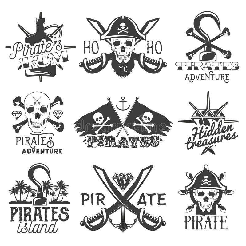 Vector set of pirates logos, emblems, badges, labels or banners. Isolated vintage style illustrations. Monochrome flags vector illustration