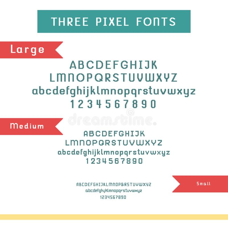 Vector set of pixel fonts - large, medium and small alphabet and numbers. Isolated on white stock illustration