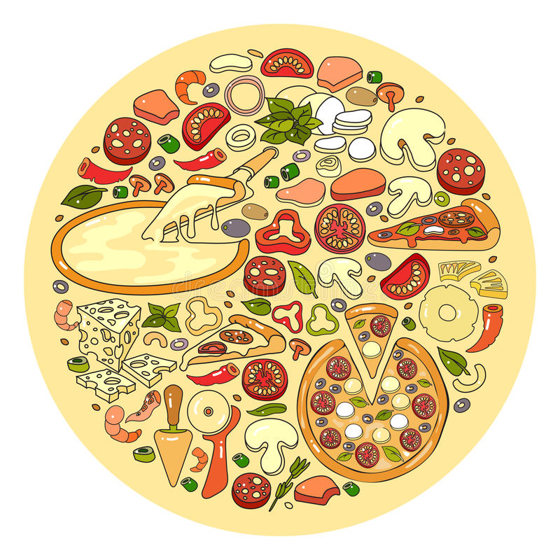 Vector set of pizza ingredient icon. Vector set of flat design cute colorful pizza ingredient icon isolated on light circle background stock illustration