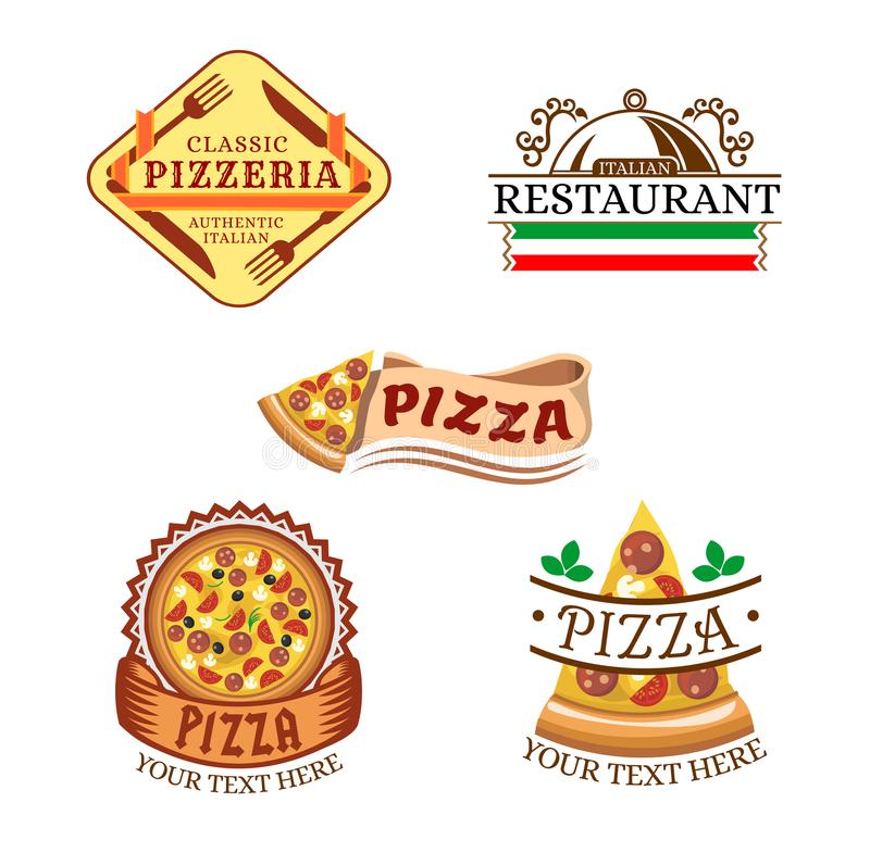 Vector set of Pizza Labels and Badges. Vector illustration royalty free illustration