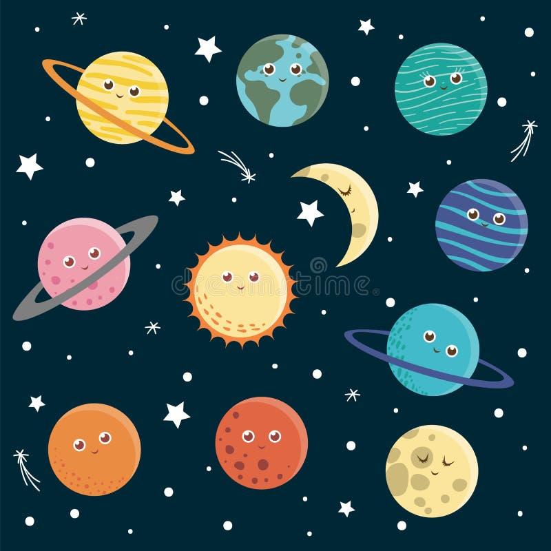 Vector set of planets for children stock illustration