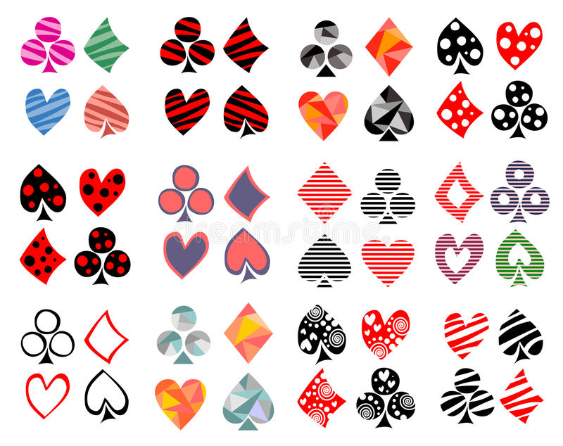 Vector set of playing card symbols. Hand drawn different ornamental, lined, triangular, dotted decorative icons, Graphic illustrat royalty free illustration