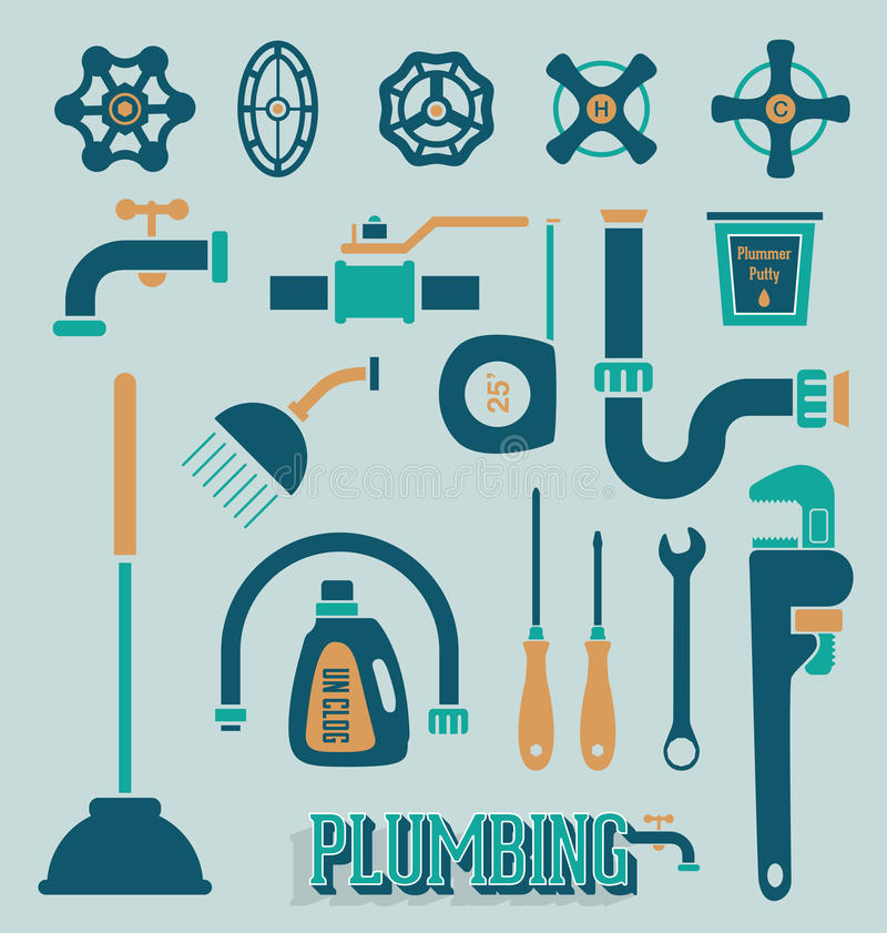 Vector Set: Plumbing Icons and Symbols royalty free illustration