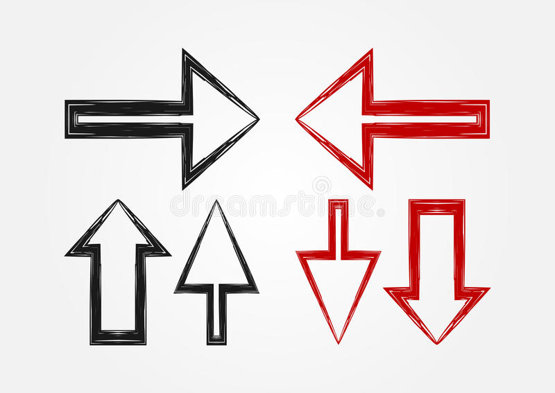 Vector set of pointers. Three arrow icons. royalty free illustration