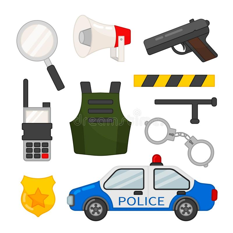 Vector set of police icons. vector illustration