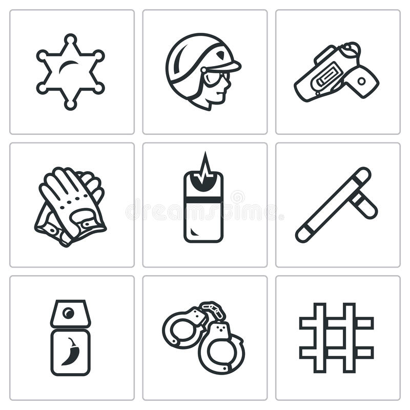 Vector Set of Police Icons. Sheriff, Law, Weapon, Ammunition, Neutralization, Pacification, Suppress, Arrest, Detention. royalty free illustration