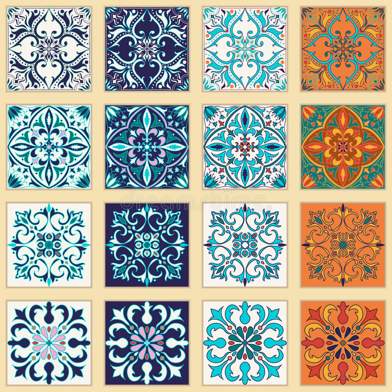 Vector set of Portuguese tiles. Beautiful colored patterns for design and fashion vector illustration