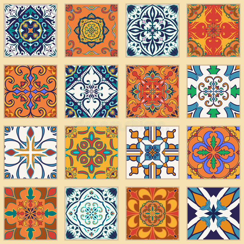 Vector set of Portuguese tiles. Collection of colored patterns for design and fashion stock illustration