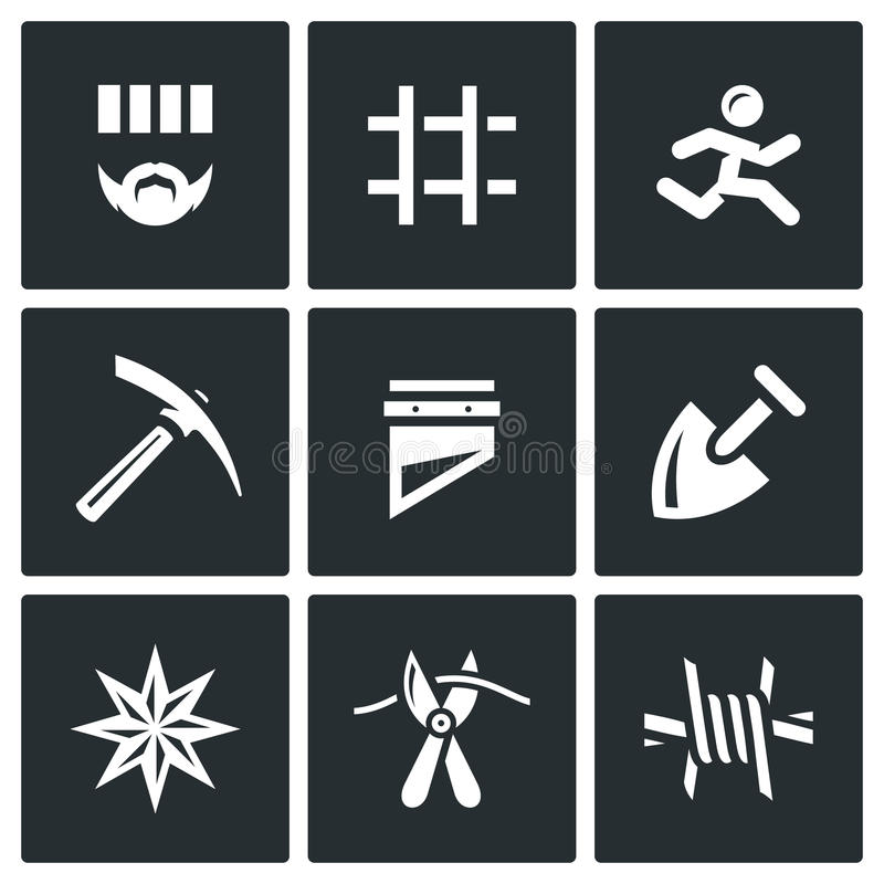 download vector set of prison icons prisoner detention cell escape work